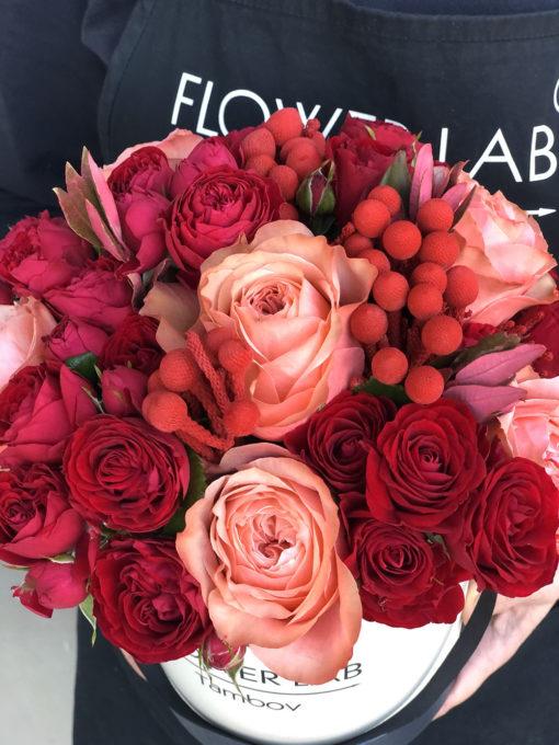"""Коробка с цветами """"Пламенная любовь"""""""